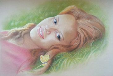 Настоящий портрет пастелью для любимой девушки в Донецке, просто и со вкусом!