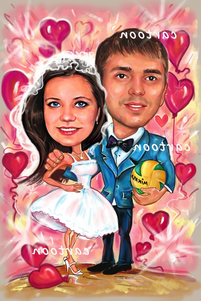 Свадебный шарж с оригинальным сюжетом в Донецке!