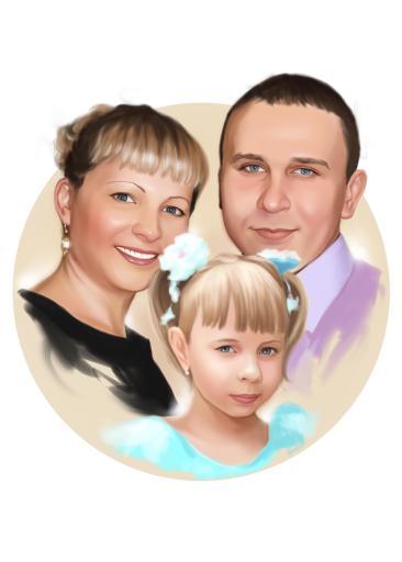 Семейный портрет по фото на холсте в Донецке — правильный подарок!