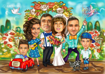 Шарж по фото на годовщину свадьбы на заказ в Донецке…